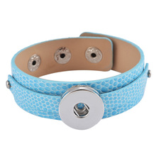 Hot Wholesale Blue Color Snake Skin Leather Bracelet fit Interchangeable Snap Button Jewelry for Fashion Women Gift  BR0466K