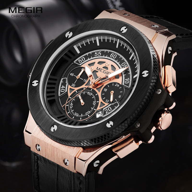 Megir Mens Chronograph Luminous Leather Strap Quartz Wristwatches Fashion Waterproof Military Sport Watch for Man 2035 Black<br>