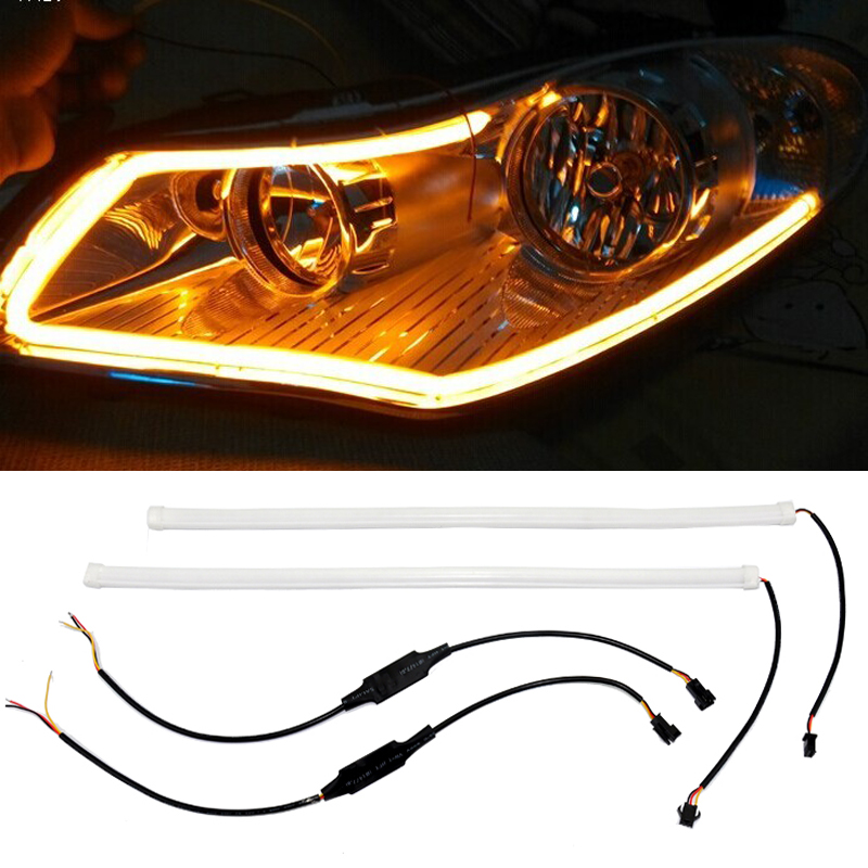 LED DRL DIY flexible daytime running light soft article lamp switchback tube car styling strip with turn signal for bmw vw audi<br><br>Aliexpress