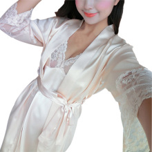 2 Pcs Sexy Women Lace Robe Set Rayon Women Pajamas V-Neck Nightgown Women Cardigans(China)