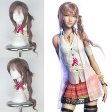 Synthetic Girl Long Wavy Smoky Pink Hair Final Fantasy Game Cosplay Party Full Wig Halloween Party