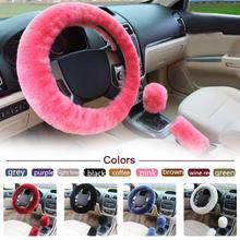 3pcs/1set Wool Car Steering Wheel Cover Sets Sleeves Pillow Winter Supplies Warm