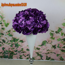 Hot 30cm 2017 New 10pcs/lot wedding road lead artificial rose flower ball wedding table centerpiece flower ball- Purple TONGFENG
