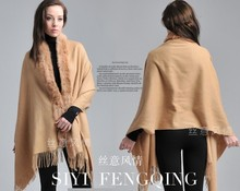 Free Shipping!!! Hot Sale Camel Women's 100% Pashmina Cashmere With Rabbit Fur Shawl Wrap