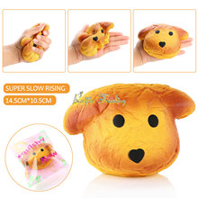 2017 New Kawaii Squishy Puppy Dog Collectibles Slow Rising 15cm Animal Kids Toy Doll Phone straps Bread Cake W/Package Wholesale