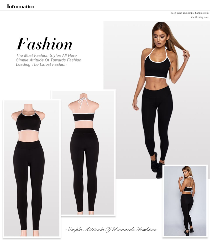 2017 Summer Patchwork Tracksuit Crop Top Tanks And Leggings Sporting Skinny Clothing New 2 Pieces Hollow Women Clothing 1
