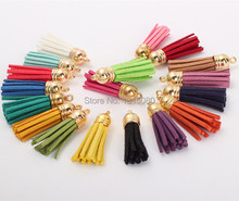 100Pcs/lot 35mm Mixed Suede Leather Jewelry Tassel For Key Chains/ Cellphone Charms Top Plated End Caps Cord Tip FL19