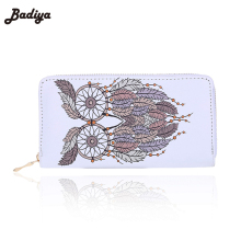 Badiya Vintage Zipper PU Leather Bags Owl Wallet Long Leather Purse For Women Ladies Bolsas Animal Print Wallets