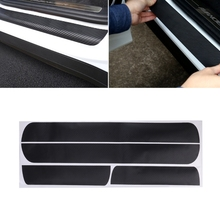 4 Pcs Car Styling Door Scuff Sill Plates Step Plate Protector Carbon Sticker For Chevrolet Cruze Sedan decoration and protection(China)