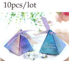 10Pieces/Lot Korean Fashion Wedding Candy Box 4 Colors Paper Geometry Packaging Gift Chocolates Boxes With Ribbon
