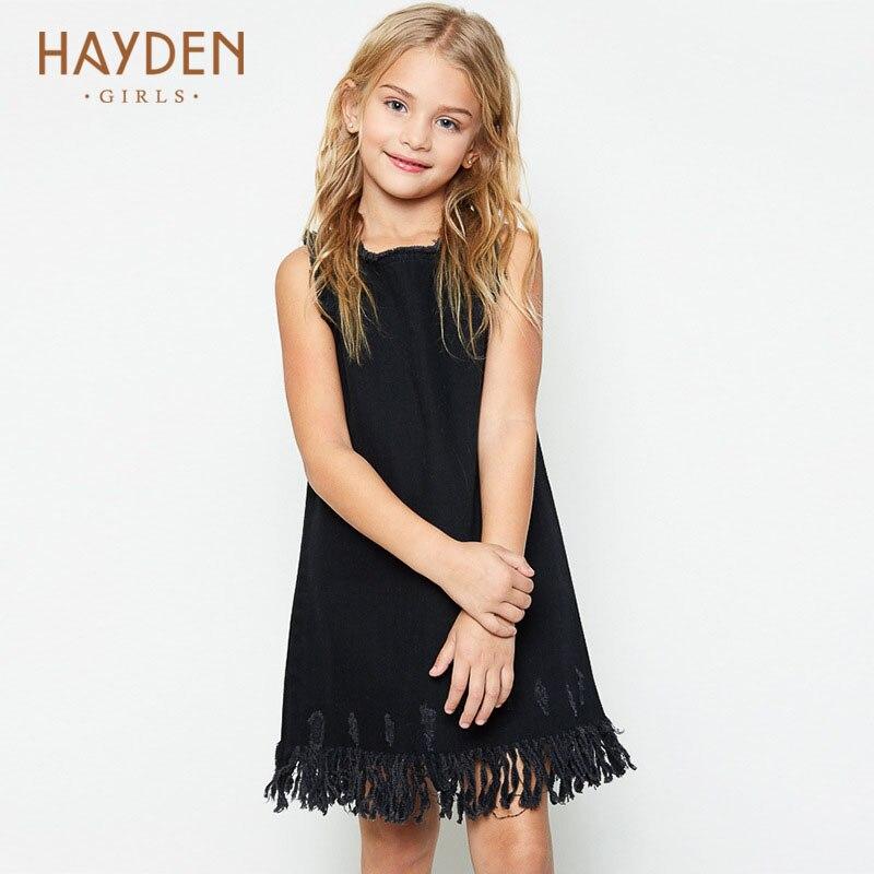 HAYDEN teenage girls sundress 12 years summer dress cream denim children costumes for girls clothes 8 10Y teens fashion clothing<br>