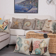 Starfish Cushion Cover Ocean Animal Shell Coral Pillow Cases Sea Horse Pillow Covers Marine Life Bedroom Sofa Decoration