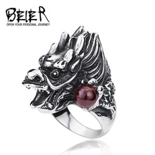 Gothic Cool Men's Dragon Ring Stainless Steel Unique Fashion Animal Ring For Man BR8-118