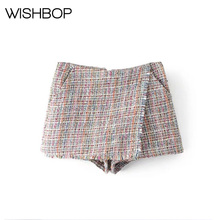 New Back Frayed Hem Tweed Skort Featuring Side Pocket Zip-up Detail - Fahion Women's Shorts & Skorts - Mini Wrap Short Shorts(China)