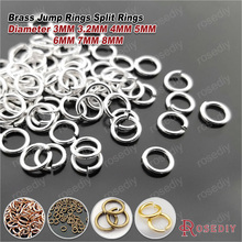 (13056)15g~20g,Diameter 3MM 3.2MM 4MM 5MM 6MM 7MM 8MM Brass Jump Rings Split Rings Jewelry Charms Connect Findings Accessories