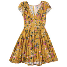 2017 Women'S Plunging Neck Floral Cut Out Dress A-Line Short Sleeves Summer Dress Hollow Out In The Back Mini Dresses For Ladies