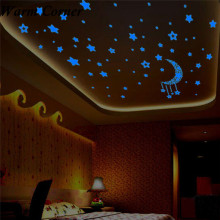A Set Glow sticker Kids Bedroom Fluorescent Glow In The Dark Stars Wall Stickers Ceiling Doors Lamps Free Shipping #CNO02(China)