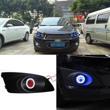 Ownsun Superb 55W Halogen Bulbs COB Fog Lights Source Angel Eye Bumper Cover For Chevrolet Aveo(China)