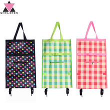 2016 New Brand Folding Portable Shopping Bags High Capacity Shopping Food Organizer Trolley Bag on Wheels Bag Buy Vegetables Bag