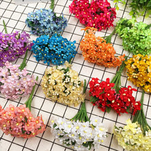 12 PCS/artificial silk mini stamens plum flower bouquet wedding decoration wreath of DIY gift boxes collage artificial flowers(China)