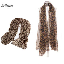 Helisopus New Women Fashion Chiffon Leopard Scarves Long Classic Leopard Scarf Wrap Lady Shawl Leopard Chiffon Scarves