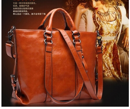 2016 pu  leather womens handbag oil waxing leather motorcycle bag  vintage messenger bag large capacity<br>