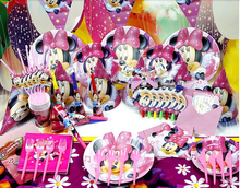 90pcs/2014 New Minnie Mouse Theme Party Luxury kids  birthday decoration plates cups straws napkins party supplie B003