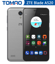 Original ZTE Blade A520 5.0 inch 1080*720 screen 16g mobile phone quad core android 6.0 dual sim bluetooth dual cameras 24000mAh(China)
