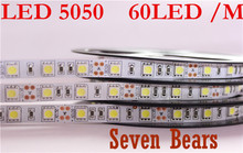 Double PCB LED strip 5050 12V flexible light 60 leds/m,5m/lot Warm White,White,Blue,Green,Red,Yellow,RGB(China)