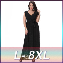 Womens Summer Dresses New Arrival V-neck Fit and flare Long Maxi Dress Black Oversized Bell Sleeve Floral Lace Dress Maxi 8XL(China)