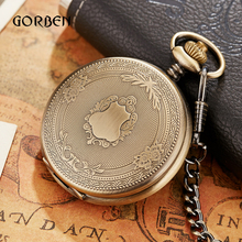 Luxury Golden Nurse fob Watches Chain for men Stainless steel Japan Quartz Movt Pocket Watch Engraved Mens Gift Relogio De Bolso(China)