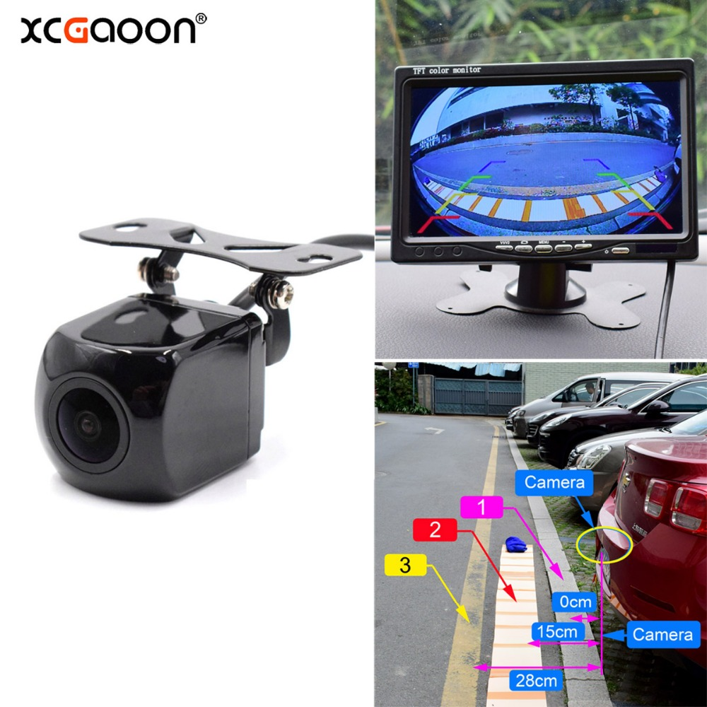 Backup Camera for Car Color CCD Waterproof 170 degree Wide Angle Car Rear View Camera with Night Vision【Metal】【White】