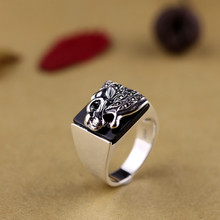S925 silver jewelry wholesale Unisex Vintage Handmade Silver Black Onyx Ring