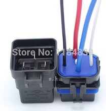 Waterproof integrated automotive relay 12V 4 feet 40A normally open with a line containing a socket