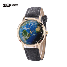 the Atlantic Ocean Dial Unique Classic Women Men Quartz Watch Leather Couples Wristwatch Reloj Mujer Nice Gift drop shipping(China)