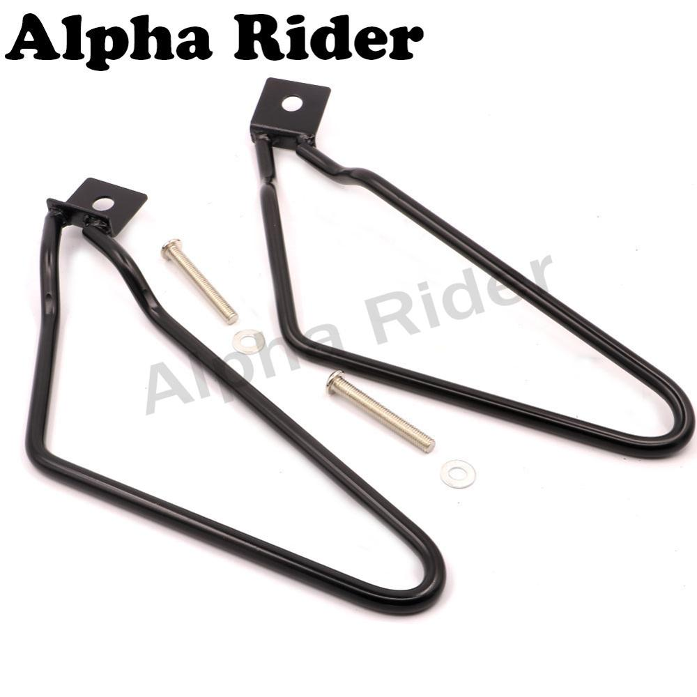 Black Motorcycle Saddlebag Brackets Support with Mounting Kits for Harley Sportster 883 1200 XL Iron XL883N Dyna Fat Bob FXDF<br><br>Aliexpress