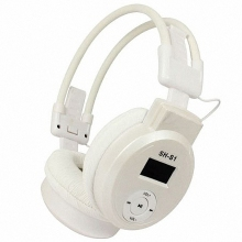 On-Ear LCD Foldable Headset Wireless Headphone Earphone with Fm Radio Tf Card Sport Mp3 Player(White)