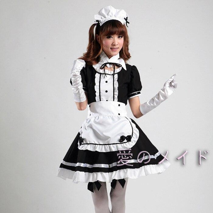 Women Costume Waitress Cosplay Maid Ruffle Lolita Gothic Women Fancy Dress fq