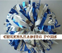 "cheerleading Pom poms 3/4""x 6""~custom color metallic white blue and holographic  handmade new hot sale custom made"