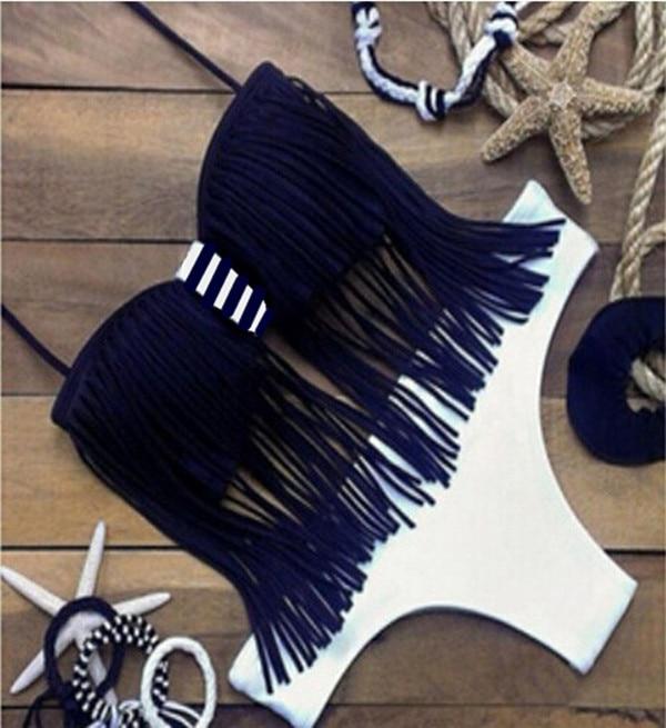 New Womens Ladies Sexy Black White Tassel fringe top Halter  Bikini Swimwear Swimsuit Biquine Female 2016 Sets Tankini<br><br>Aliexpress