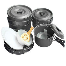 Aluminum Camping Hiking Cookware Backpacking Cooking Picnic Bowl Pot Pan Set for 5-6 person