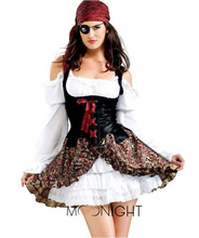 MOONIGHT Pirate Costume Reatil Deluxe Pirate Halloween Costumes For Women(China)