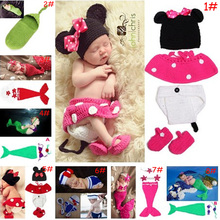 Latest Crochet Baby Cartoon Costume Knitted Newborn Baby Coming Home Outfits Mickey Mermaid Baby Girl Photo Props 1set(China)