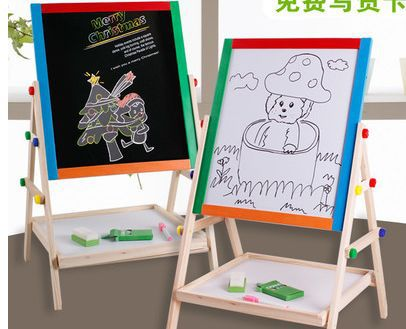 Free shipping Child puzzle wooden toy magnetic whiteboard + blackboard Drawing board<br><br>Aliexpress