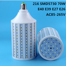 LED corn lamp E27 light 70W AC 85-265V E26 bulb 216 5730 SMD Leds Lighting E40 E39  Road lights Factory lighting Lampada luz