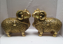 Metal crafts Home Decoration 1 Pair Of Chinese brass Carved Coin sheep Sculpture, Feng Shui Goats Statue
