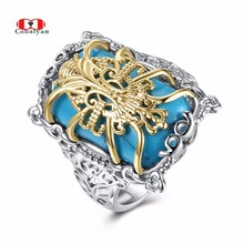 Allencoco Punk Men Rings Classic Turquoise Texture Personality Feast Finger Rings Jewelry for Women and Men Full Sizes