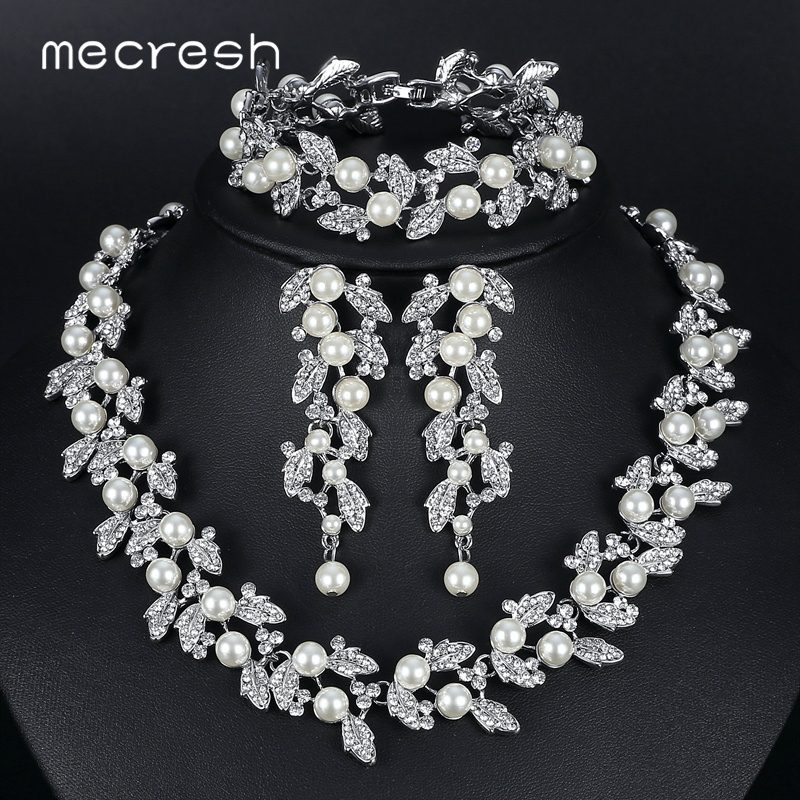Mecresh Jewelry-Sets Parure SL089 Femme Silver/gold-Color Simulated-Pearl-Bridal Wedding title=