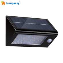 LumiParty Solar Powered Motion Sensor Wall Light 32 LED Outdoor Wireless Waterproof Motion Activated Security Lamps for Garden