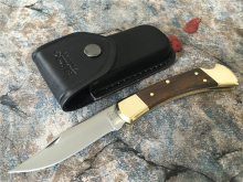 Benys Version Buck 110 Folding Blade Knife , 440C Blade With Brass+Yellow Sandalwood Handle